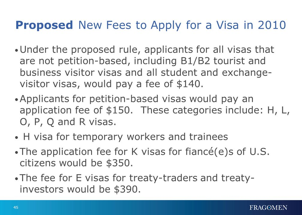 45 Proposed New Fees to Apply for a Visa in 2010 Under the proposed rule, applicants for all visas that are not petition-based, including B1/B2 touris
