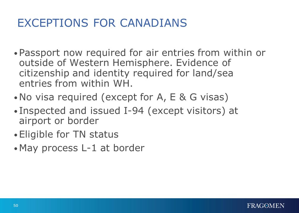 50 EXCEPTIONS FOR CANADIANS Passport now required for air entries from within or outside of Western Hemisphere. Evidence of citizenship and identity r
