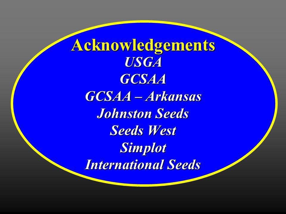 Acknowledgements USGAGCSAA GCSAA – Arkansas Johnston Seeds Seeds West Simplot International Seeds