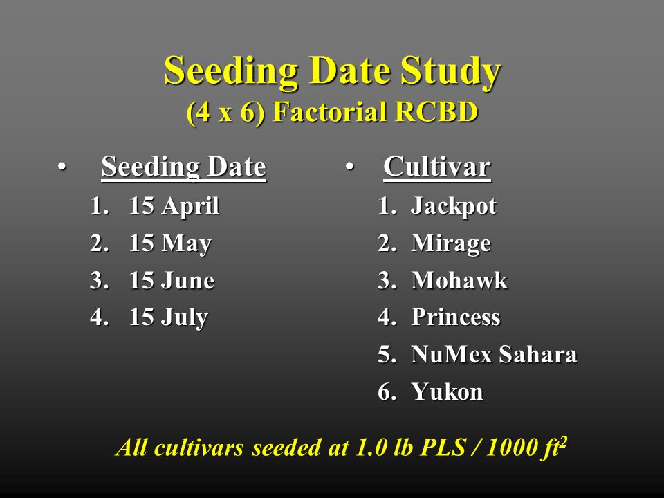 Seeding Date Study (4 x 6) Factorial RCBD Seeding DateSeeding Date 1.15 April 2.15 May 3.15 June 4.15 July CultivarCultivar 1.Jackpot 2.Mirage 3.Mohawk 4.Princess 5.NuMex Sahara 6.Yukon All cultivars seeded at 1.0 lb PLS / 1000 ft 2