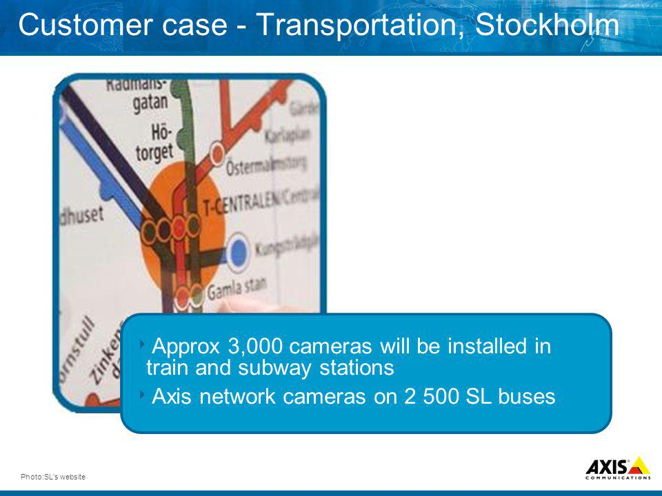 Customer case - Transportation, Stockholm Photo:SLs website Approx 3,000 cameras will be installed in train and subway stations Axis network cameras o