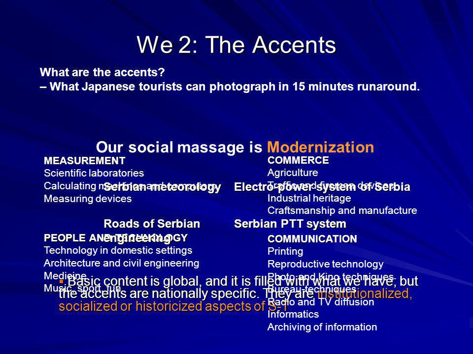 We 2: The Accents Basic content is global, and it is filled with what we have; but the accents are nationally specific.
