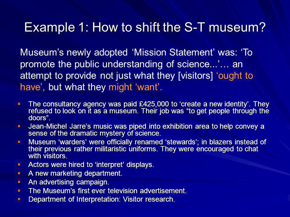 Example 1: How to shift the S-T museum.