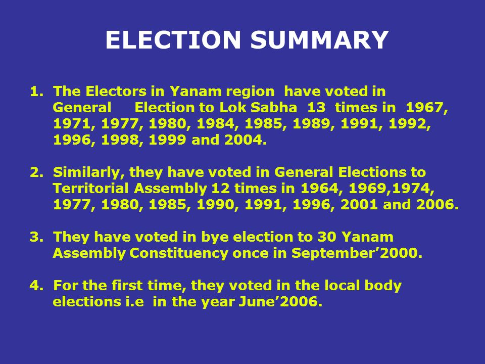 Highlights of Previous Elections 1.