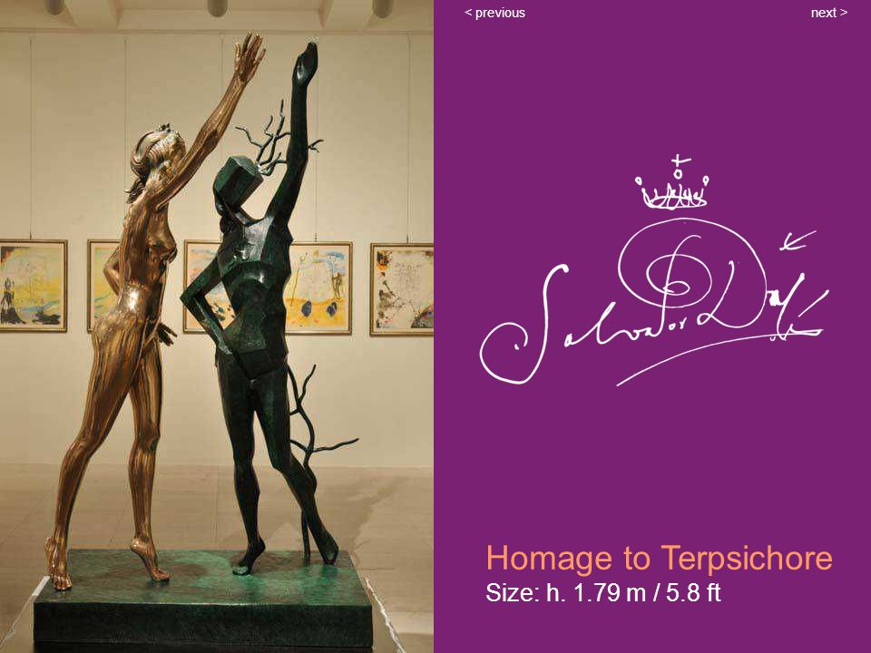 Homage to Terpsichore Size: h. 1.79 m / 5.8 ft next >< previous