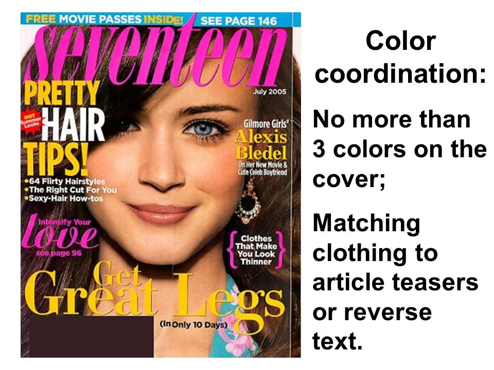 Color coordination: No more than 3 colors on the cover; Matching clothing to article teasers or reverse text.