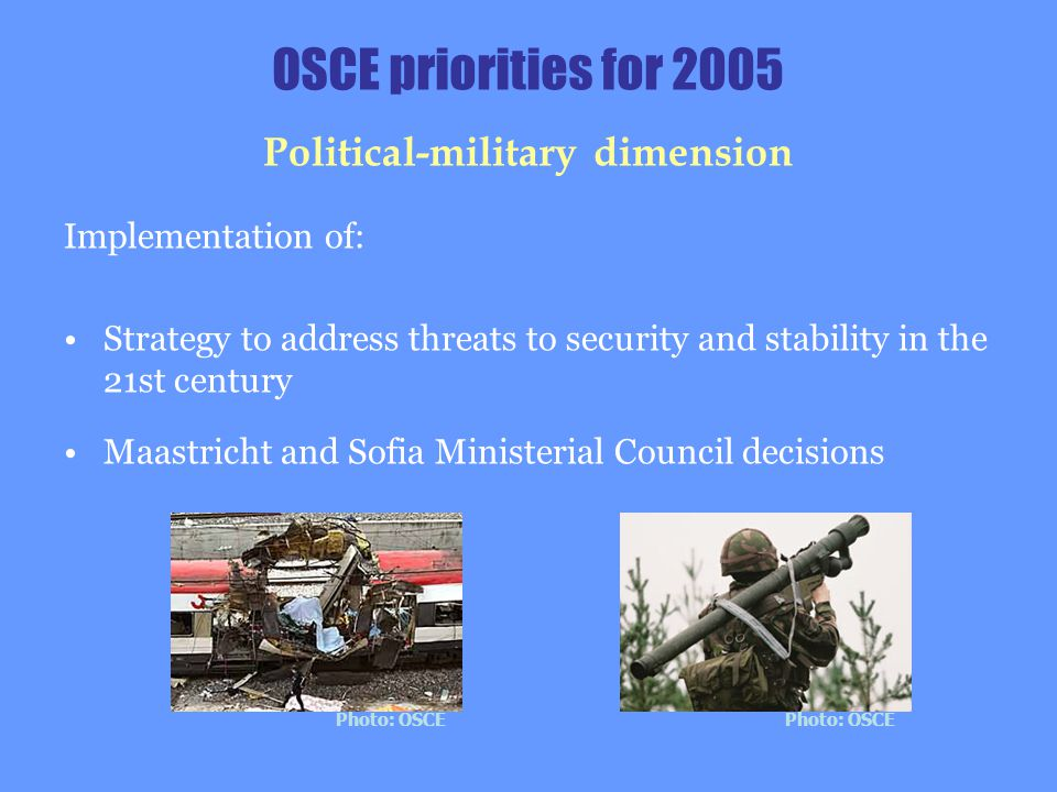 OSCE priorities for 2005 Political-military dimension Implementation of: Strategy to address threats to security and stability in the 21st century Maa