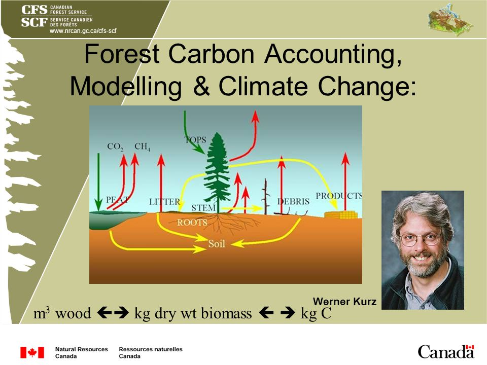www.nrcan.gc.ca/cfs-scf Forest Carbon Accounting, Modelling & Climate Change: Werner Kurz m 3 wood kg dry wt biomass kg C