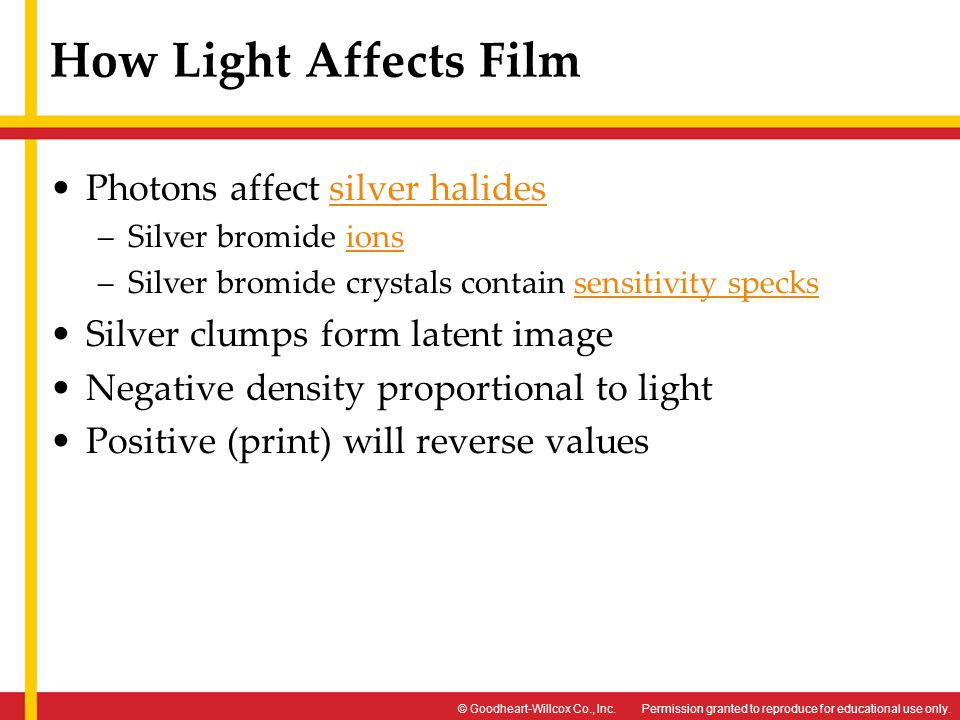 Permission granted to reproduce for educational use only.© Goodheart-Willcox Co., Inc. How Light Affects Film Photons affect silver halidessilver hali