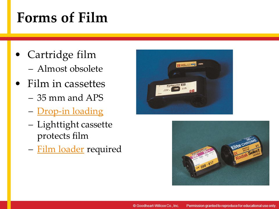 Permission granted to reproduce for educational use only.© Goodheart-Willcox Co., Inc. Forms of Film Cartridge film –Almost obsolete Film in cassettes