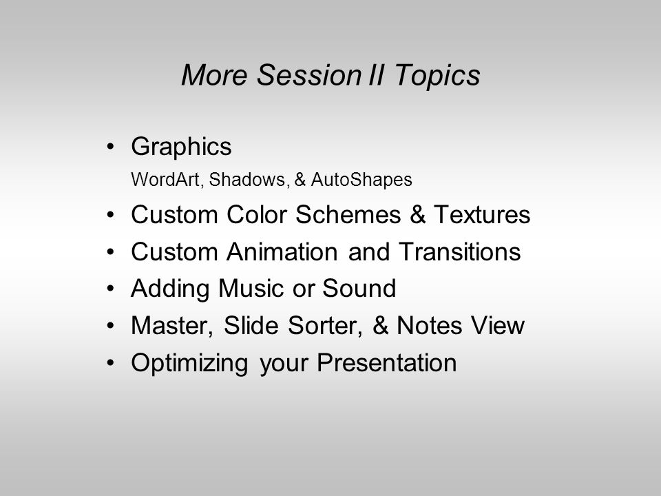 Presentation from a template. On the New Presentation Task Bar, choose From AutoContent wizard Allow the wizard to help you set up and organize your p