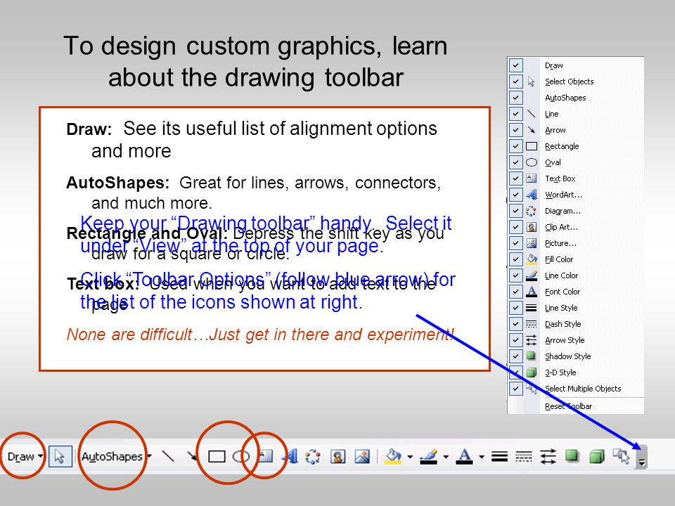 More Session II Topics Graphics WordArt, Shadows, & AutoShapes Custom Color Schemes & Textures Custom Animation and Transitions Adding Music or Sound Master, Slide Sorter, & Notes View Optimizing your Presentation