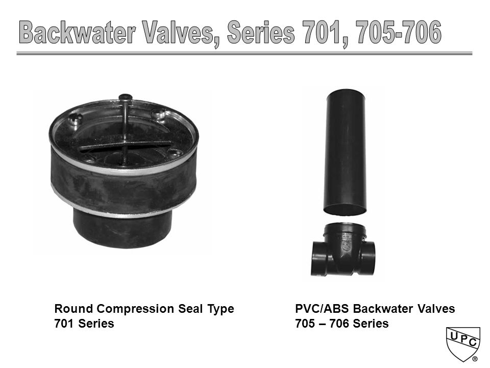 PVC/ABS Backwater Valves 705 – 706 Series Round Compression Seal Type 701 Series