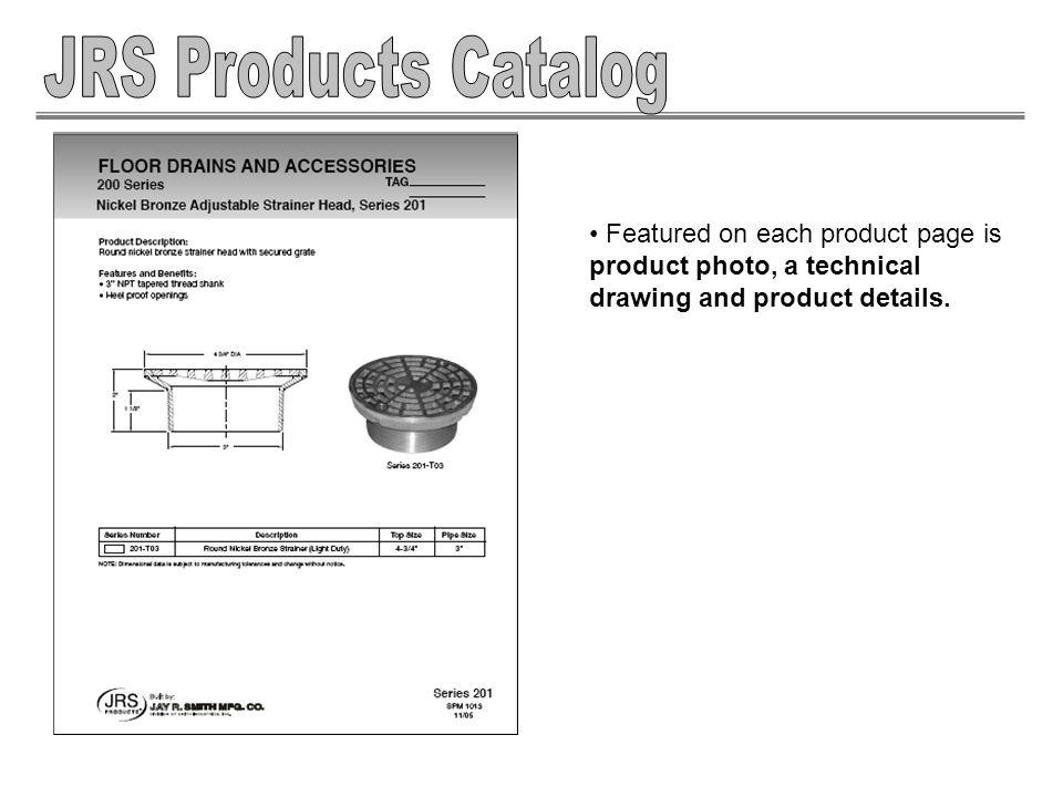 Featured on each product page is product photo, a technical drawing and product details.