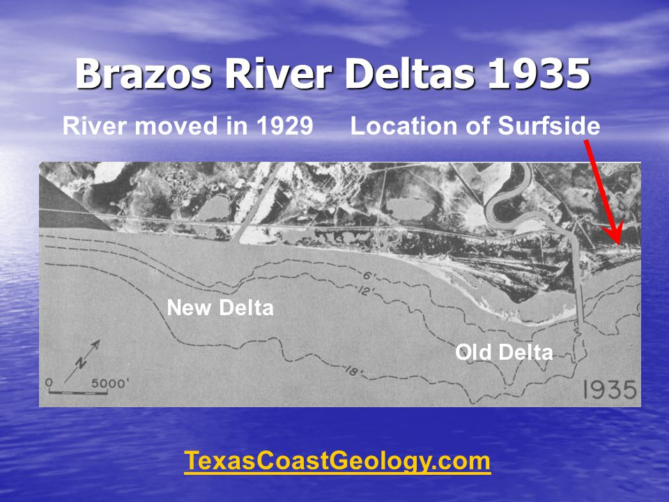 Brazos River Deltas 1935 TexasCoastGeology.com New Delta Old Delta River moved in 1929 Location of Surfside
