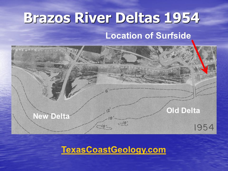 Brazos River Deltas 1954 TexasCoastGeology.com Old Delta New Delta Location of Surfside