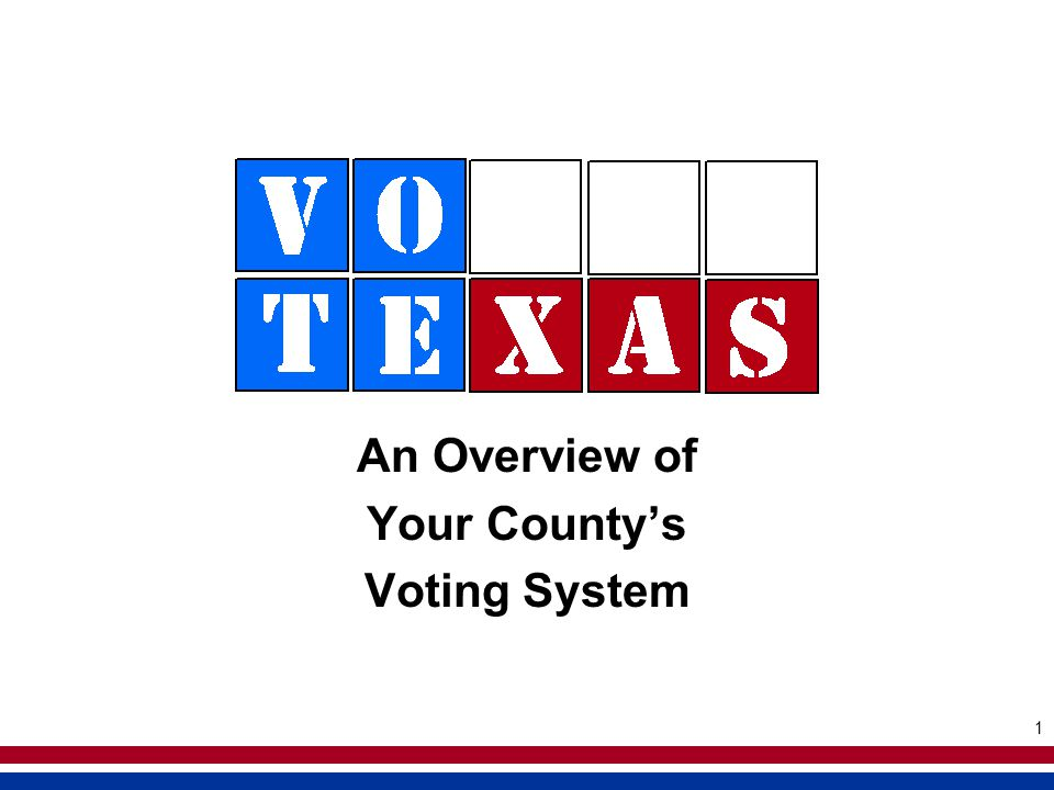 1 An Overview of Your Countys Voting System