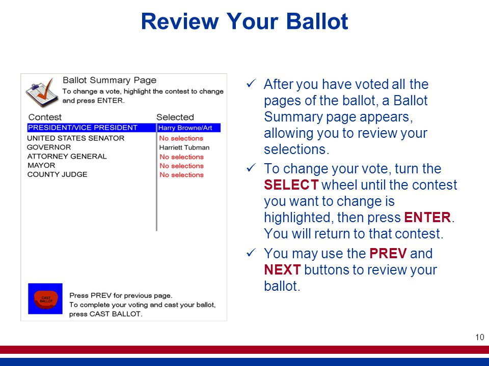 10 Review Your Ballot After you have voted all the pages of the ballot, a Ballot Summary page appears, allowing you to review your selections.