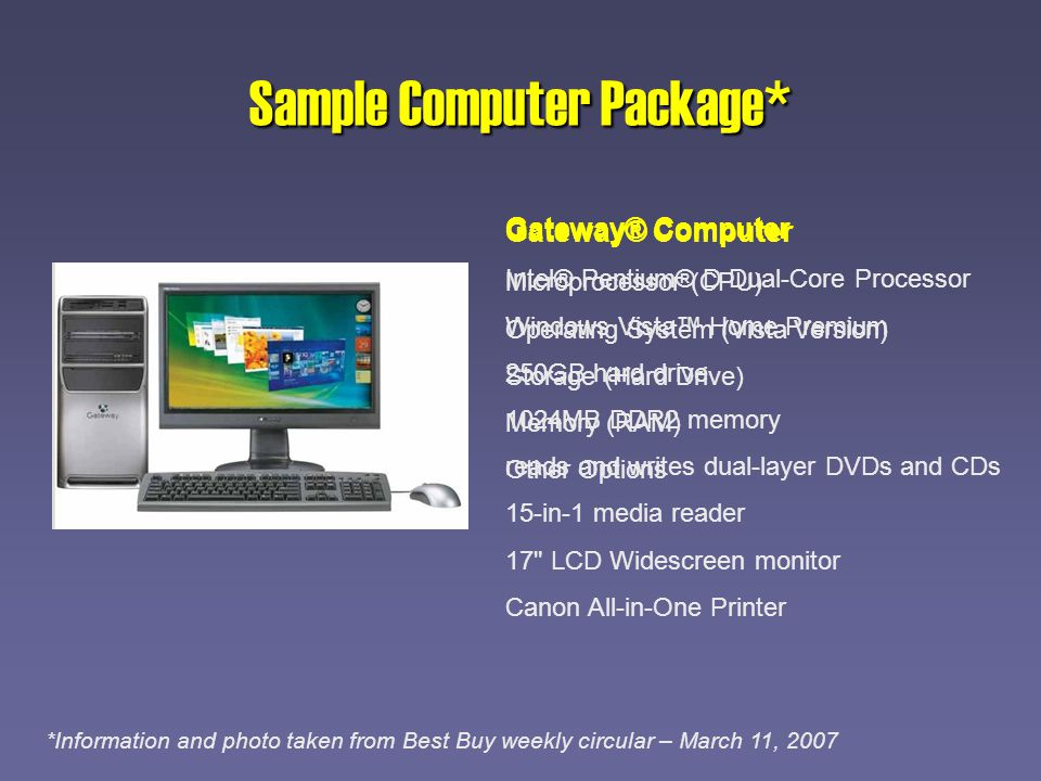 Sample Computer Package* Gateway® Computer Intel® Pentium® D Dual-Core Processor Windows Vista Home Premium 250GB hard drive 1024MB DDR2 memory reads