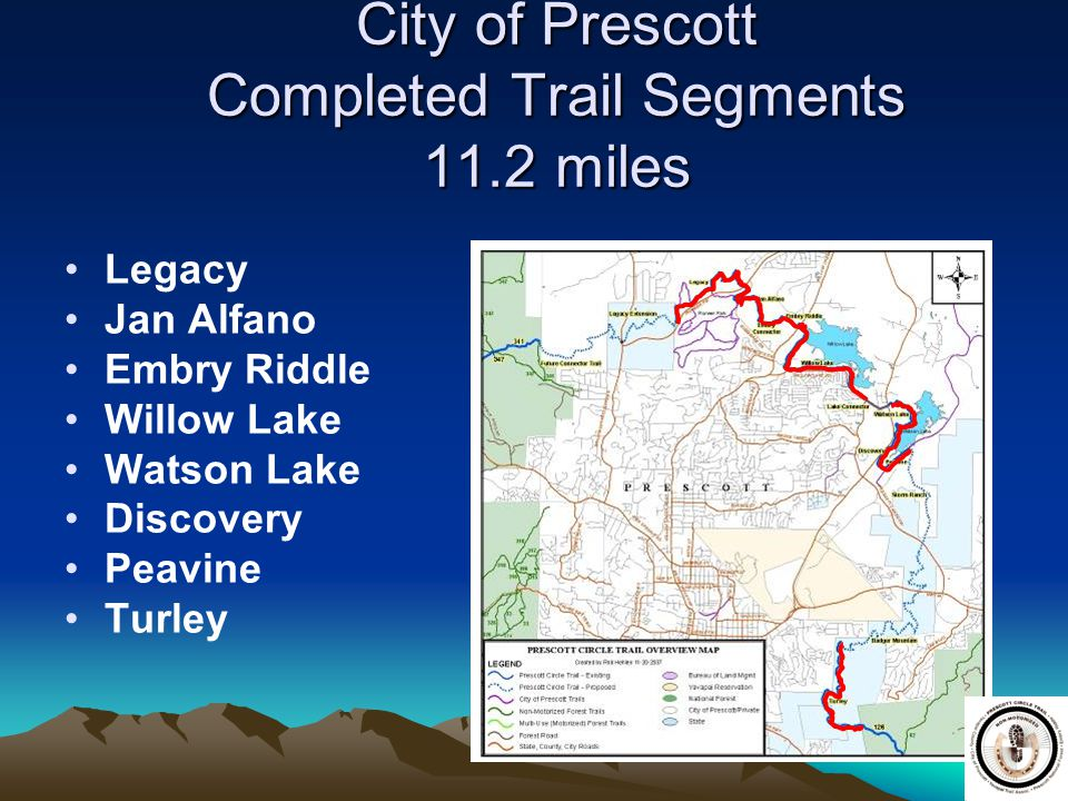 11 City of Prescott Completed Trail Segments 11.2 miles Legacy Jan Alfano Embry Riddle Willow Lake Watson Lake Discovery Peavine Turley