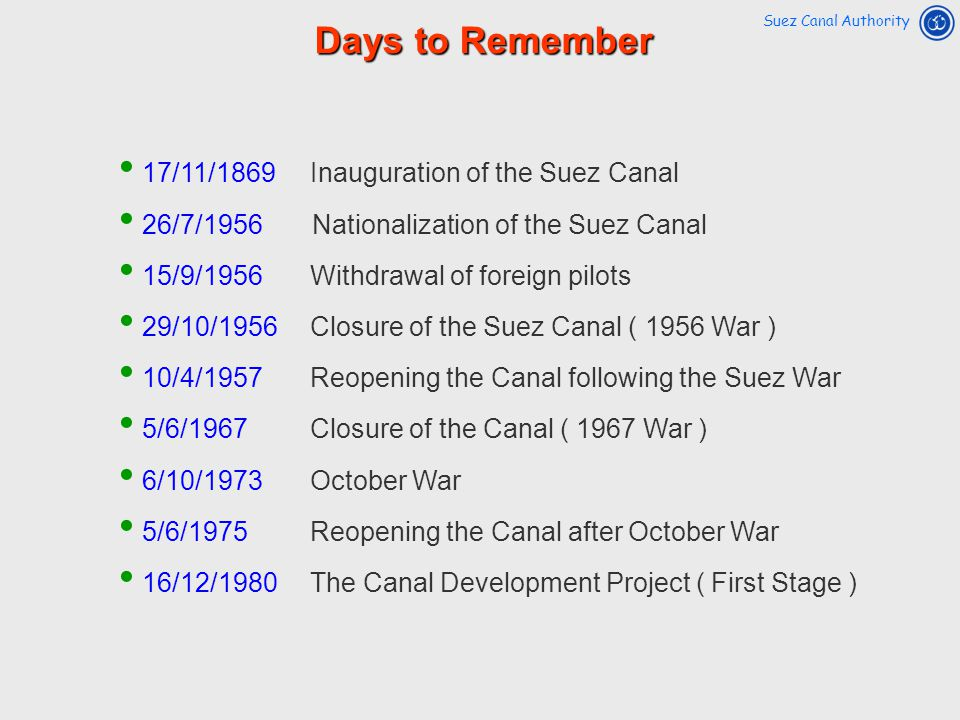 17/11/1869 Inauguration of the Suez Canal 26/7/1956 Nationalization of the Suez Canal 15/9/1956Withdrawal of foreign pilots 29/10/1956Closure of the S
