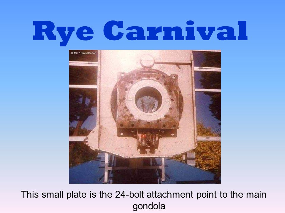Rye Carnival This small plate is the 24-bolt attachment point to the main gondola