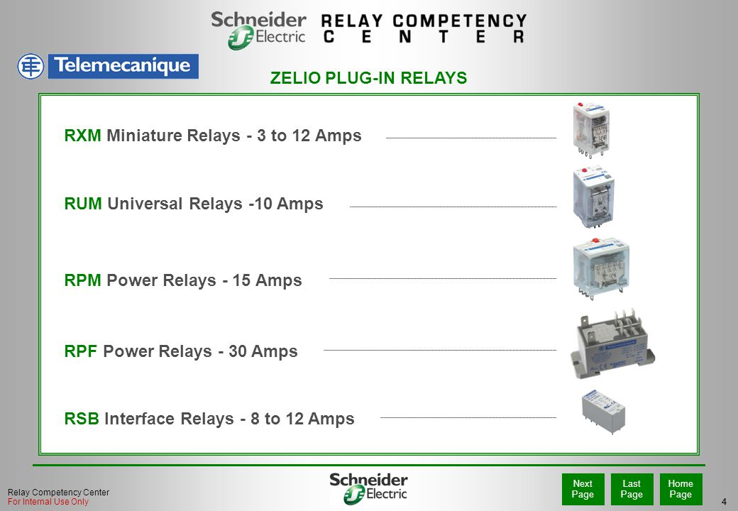 4 Home Page Last Page Next Page Relay Competency Center For Internal Use Only RPM Power Relays - 15 Amps RXM Miniature Relays - 3 to 12 Amps RUM Universal Relays -10 Amps RPF Power Relays - 30 Amps ZELIO PLUG-IN RELAYS RSB Interface Relays - 8 to 12 Amps