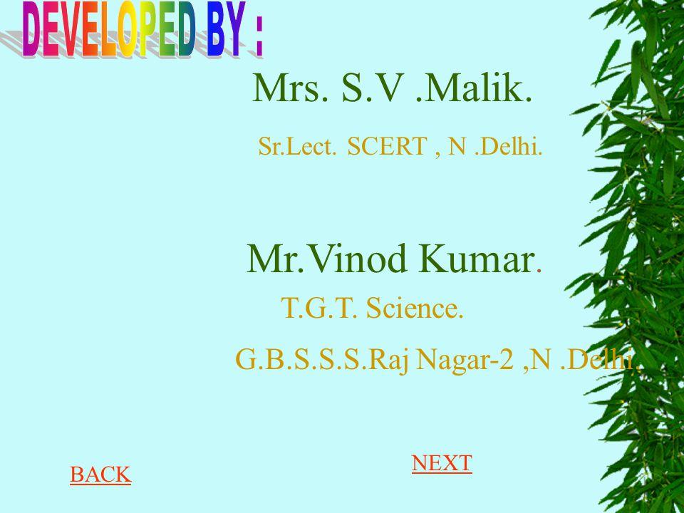 Mrs. S.V.Malik. Sr.Lect. SCERT, N.Delhi. Mr.Vinod Kumar. G.B.S.S.S.Raj Nagar-2,N.Delhi. T.G.T. Science. NEXT BACK