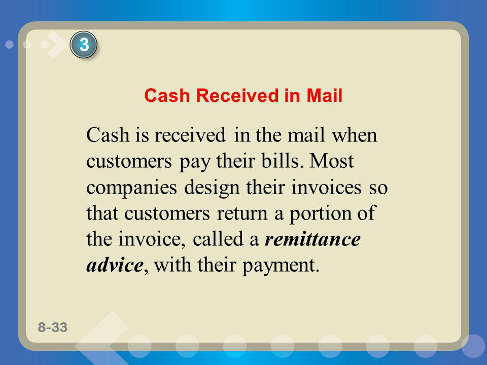 8-33 Cash is received in the mail when customers pay their bills. Most companies design their invoices so that customers return a portion of the invoi