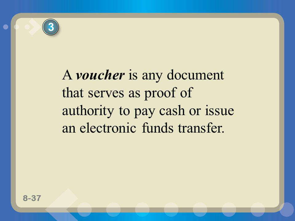 8-37 A voucher is any document that serves as proof of authority to pay cash or issue an electronic funds transfer. 3
