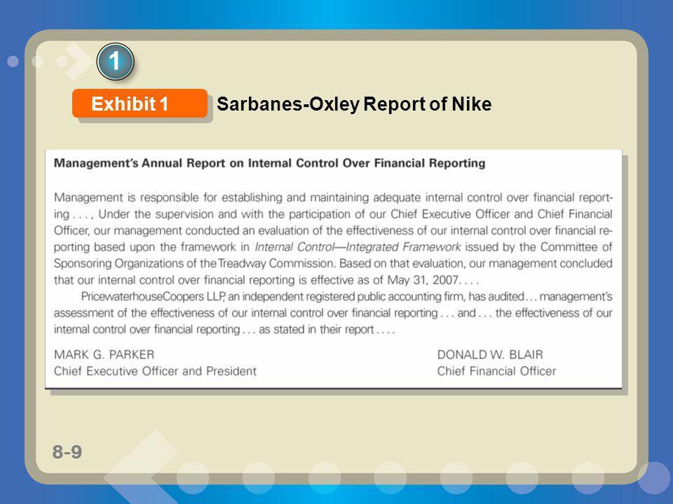 8-9 1 Sarbanes-Oxley Report of Nike Exhibit 1