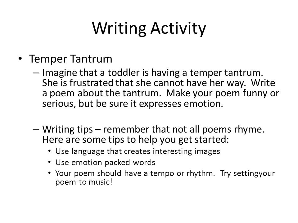 Take charge With a partner, create a skit about how you would handle a two year old having a temper tantrum at the mall