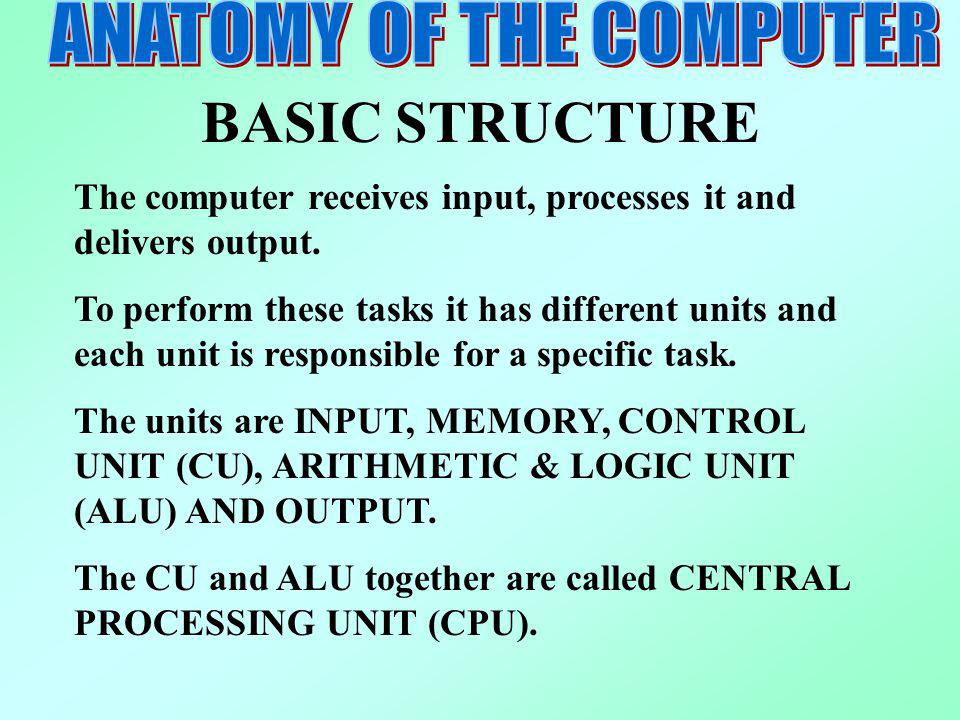 BASIC STRUCTURE The computer receives input, processes it and delivers output. To perform these tasks it has different units and each unit is responsi