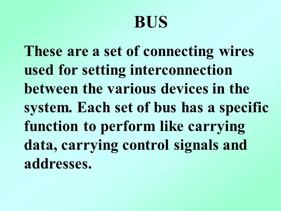 BUS These are a set of connecting wires used for setting interconnection between the various devices in the system. Each set of bus has a specific fun