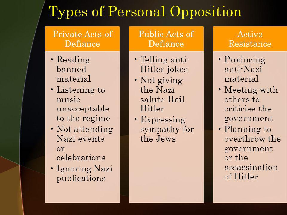 Types of Personal Opposition Private Acts of Defiance Reading banned material Listening to music unacceptable to the regime Not attending Nazi events