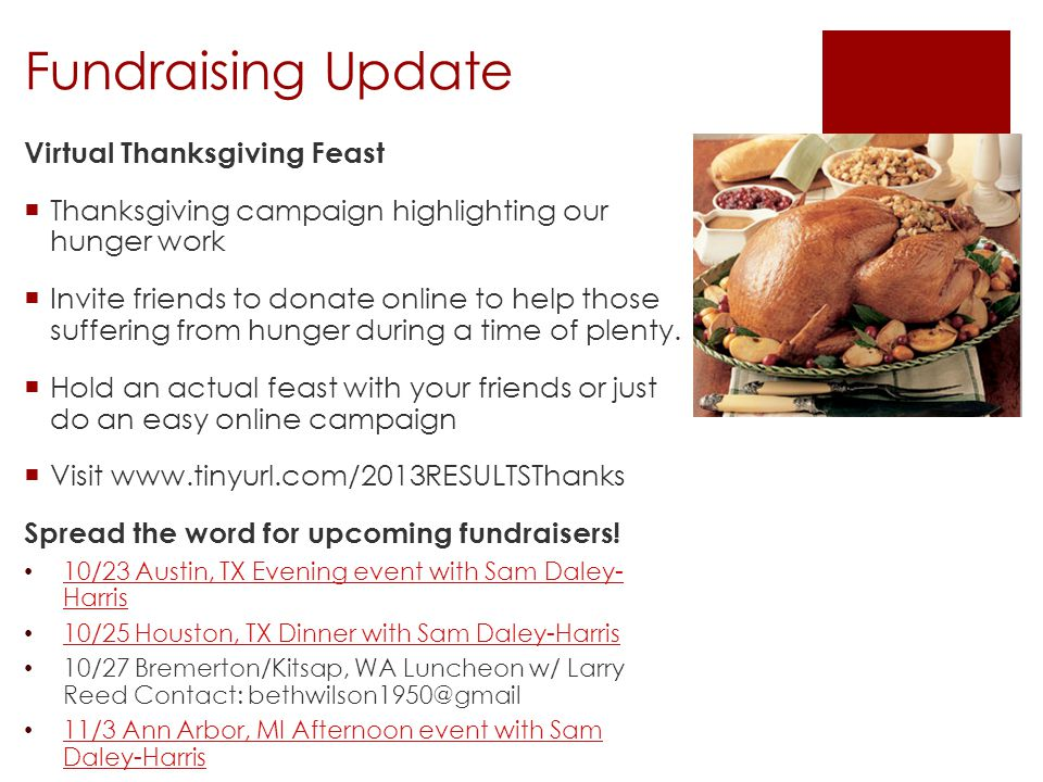 Fundraising Update Virtual Thanksgiving Feast Thanksgiving campaign highlighting our hunger work Invite friends to donate online to help those sufferi