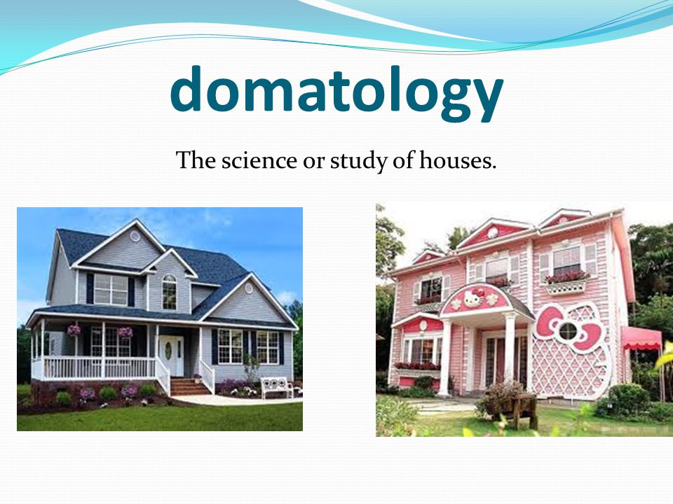 domatology The science or study of houses.