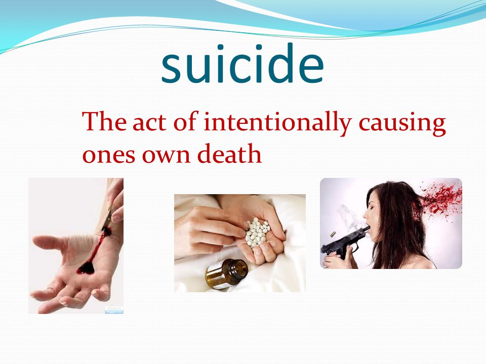 suicide The act of intentionally causing ones own death
