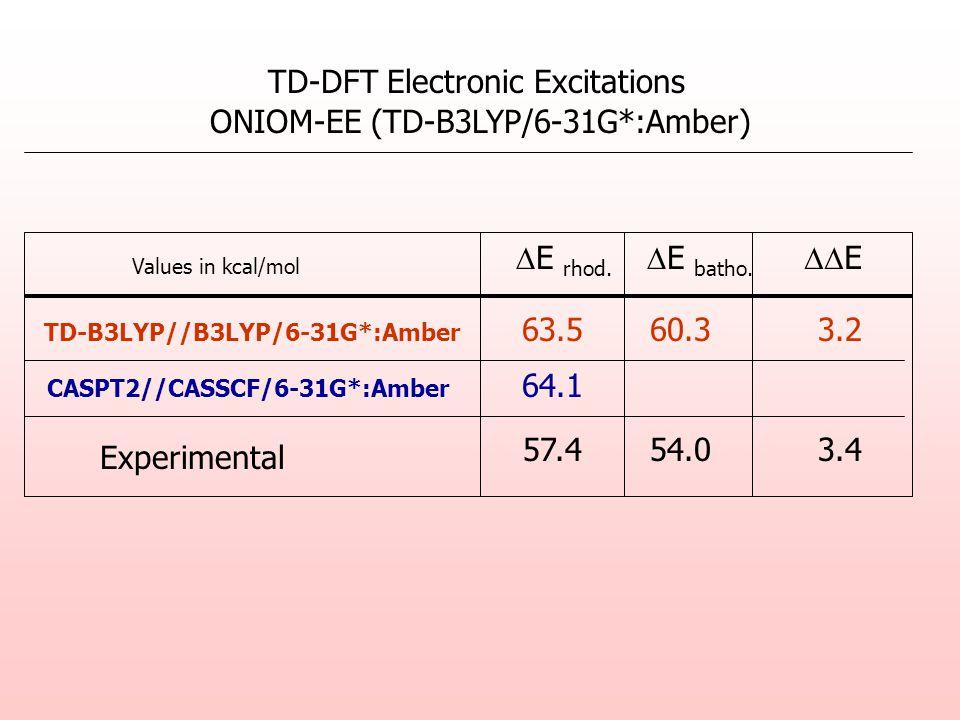 TD-DFT Electronic Excitations ONIOM-EE (TD-B3LYP/6-31G*:Amber) E rhod.