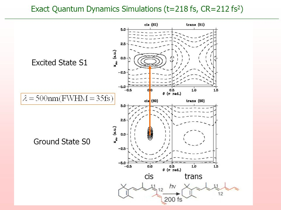 Excited State S1 Ground State S0 cistrans Exact Quantum Dynamics Simulations (t=218 fs, CR=212 fs 2 )