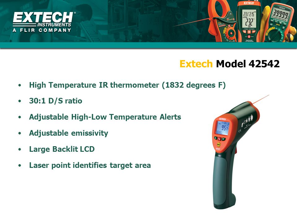 Extech Model 42542 High Temperature IR thermometer (1832 degrees F) 30:1 D/S ratio Adjustable High-Low Temperature Alerts Adjustable emissivity Large