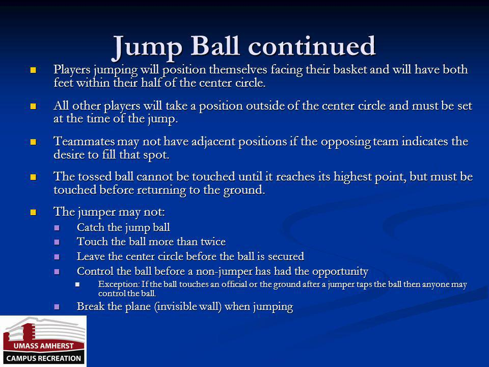 Jump Ball Violations Ball is re-jumped if… Referee makes a bad toss Referee makes a bad toss What is a bad toss? What is a bad toss? Teams commit simu