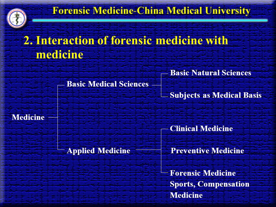2. Interaction of forensic medicine with medicine Basic Natural Sciences Basic Medical Sciences Subjects as Medical Basis Medicine Clinical Medicine A