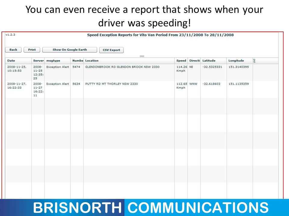 You can even receive a report that shows when your driver was speeding!