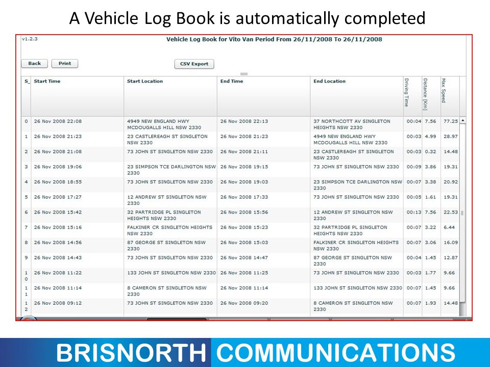 A Vehicle Log Book is automatically completed