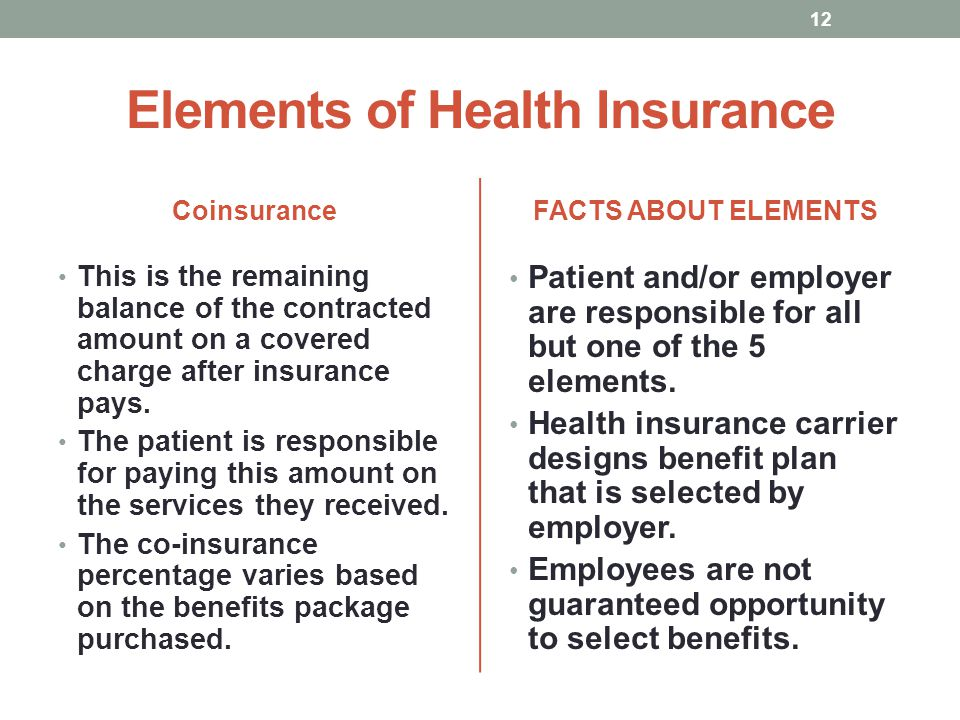 Elements of Health Insurance Coinsurance This is the remaining balance of the contracted amount on a covered charge after insurance pays. The patient