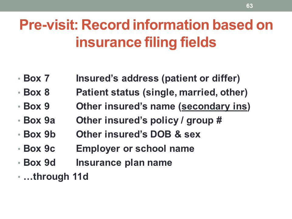 Pre-visit: Record information based on insurance filing fields 63 Box 7Insureds address (patient or differ) Box 8Patient status (single, married, othe