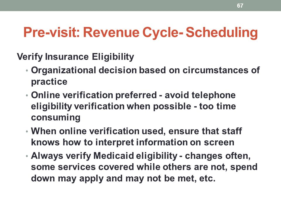 Pre-visit: Revenue Cycle- Scheduling 67 Verify Insurance Eligibility Organizational decision based on circumstances of practice Online verification pr