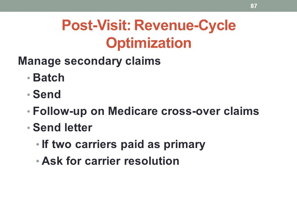 Post-Visit: Revenue-Cycle Optimization 87 Manage secondary claims Batch Send Follow-up on Medicare cross-over claims Send letter If two carriers paid