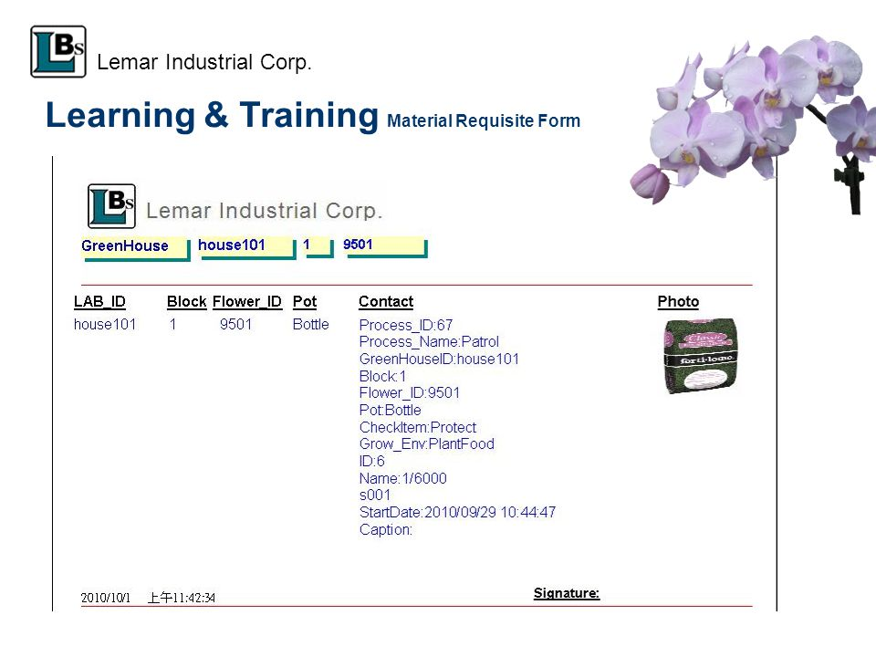 Learning & Training Material Requisite Form Lemar Industrial Corp.